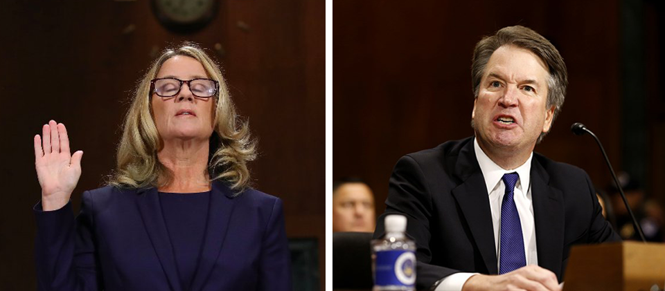 Dr. Christine Blasey-Ford being sworn in ahead of the Senate Judiciary Hearing, on the left. On the right, Judge Brett Kavanaugh shouting back at senators during the hearing.